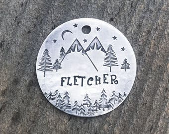Dog Tag, Dog Tags for Dogs, Dog Tags, Snow Capped Starry Night Tag, Mountain Dog Tag, Trees Dog Tag, Personalized Dog Tag, Custom Dog Tags