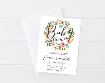 Floral Baby Shower Invitation | Watercolour floral invitation | Pretty | Floral Baby Shower Invitation | Printable Invitation