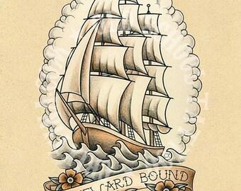 Homeward Bound. Sailboat. Old school tattoo. Art tattoo, Instant Download. Printable Illustration.