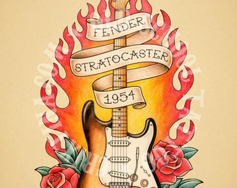 Fender Stratocaster guitar. Old School Tattoo print.