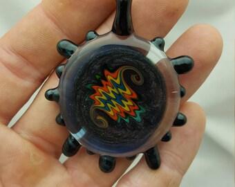 Heady Rainbow like Wig Wag Glass Pendant with Sparkly Grey and Blue Dichro - Dichroic - Borosilicate