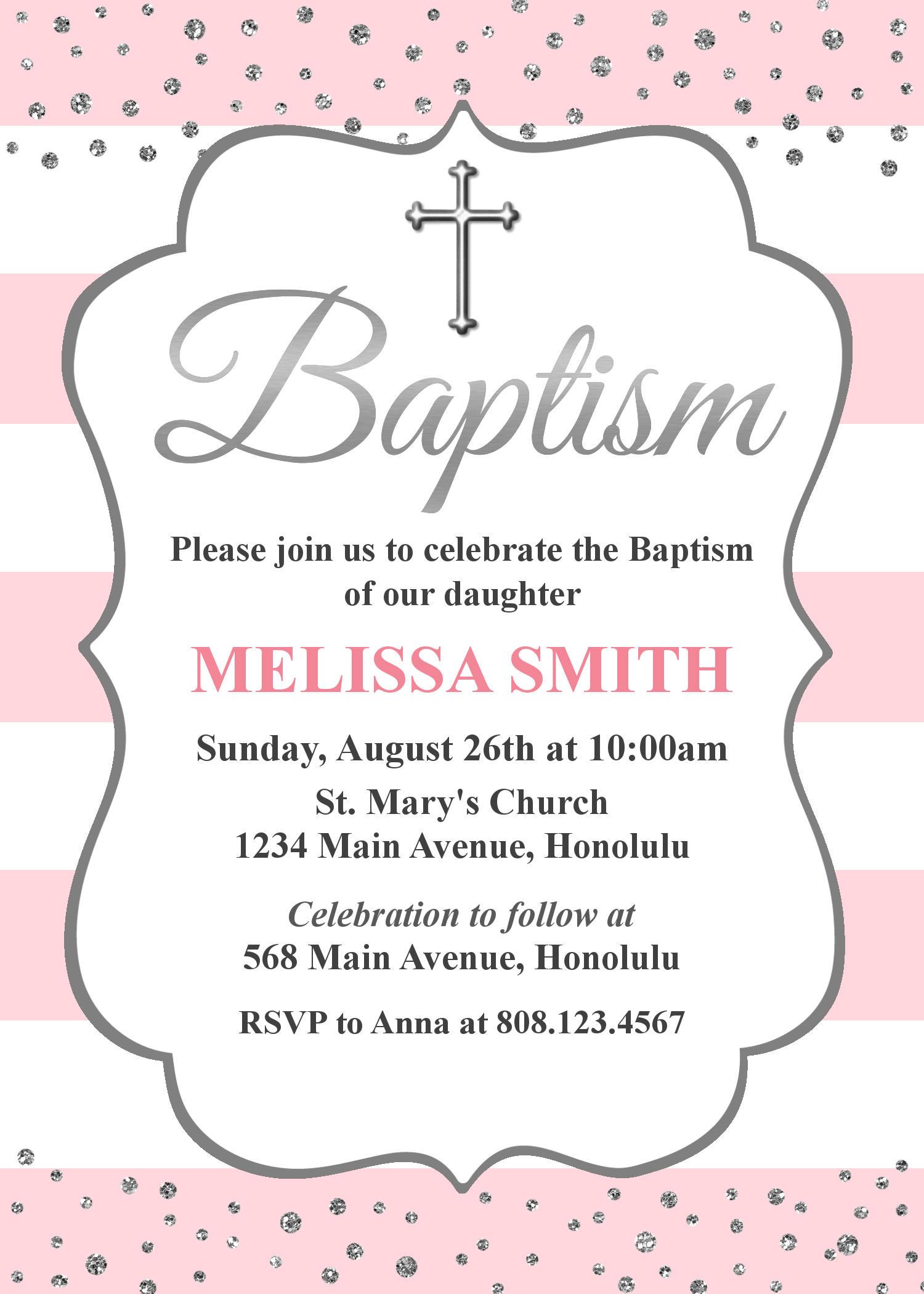 Pink Baptism Invitations. Girl Baptism Invitation. Christening ...