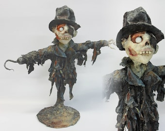 SCARECROW PAPER MACHE Sculpture, ooak doll, weird, creepy, whimsical halloween gift home decor, paper mache handmade art, one of a kind