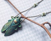 Cicada pendant NANDOIRO with bronze chain green crystal beads, vintage, insect jewelry, dark mori, goth style, dark elegant, gift for her