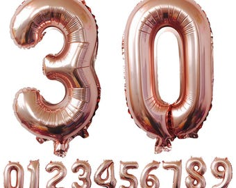 Giant mylar balloon numerals all various colors