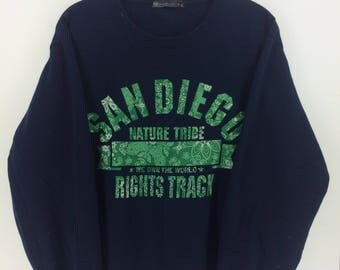 Vintage 90's San Diego Dark Blue Classic Design Skate Sweat Shirt Sweater Varsity Jacket Size 3L #A842