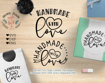 Handmade with love svg, Handmade with Love Cut File in SVG, DXF, PNG, Handmade with Love Printable Clipart Perfect for Tags, Signs, Labels,