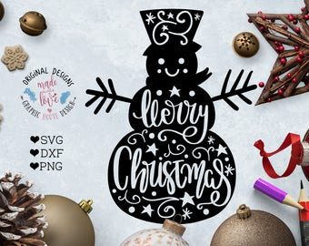 Merry Christmas Snowman Cut File available in SVG, DXF, PNG, Snowman svg, Merry Christmas Cut File, Snowman Cut File, Christmas snowman svg