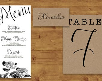 Simple Floral Kraft Illustrated Place Cards, Table Numbers, Menu Cards - Rustic -  Kraft Card - Table Name - Name Card - Wedding Stationery