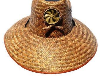 Straw hat with solar panel fan