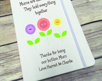 Personalised Lined Notepad- Gift - Present - Mums Buttons DD286