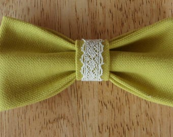 Bow tie in lime green fabric with lace