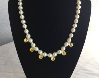 Knotted Swarovski  Pearls and Swarovski cristal drops Bridal Necklace