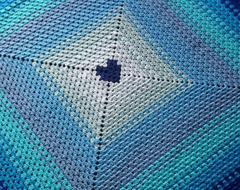 Crochet blanket, ombre blanket, throw, afghan, crochet, blanket, blue, boys, ombre, toddler, lap blanket, granny square, heart
