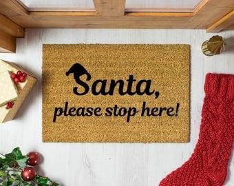 Santa, please stop here doormat - 60x40cm - Funny Novelty Christmas Decoration Doormat