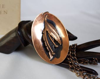Large Vintage Copper-Plated Pendant Necklace with Raised Leaf