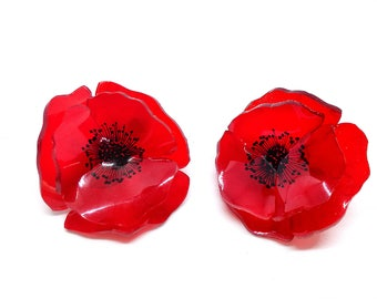 Red poppy earrings, red flower earrings, handmade earrings