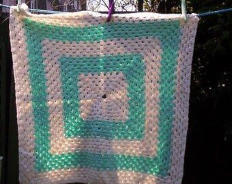 Hand Made Crochet Baby Blanket for Pram or Cot ( Green / White )
