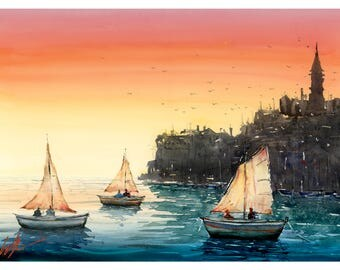 Fine Art Print of Dubrovnik, Croatia Watercolour Painting Signed Seascape Port Boats A3 A4 Giclee High Quality Vibrant Impressionist Harbour
