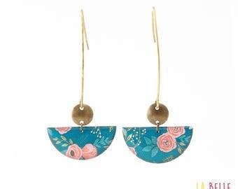 Crochet half-moon blue floral earrings