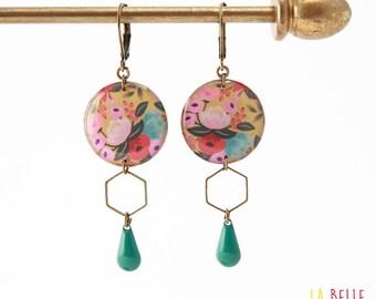 Hexagon pattern resinees earrings round floral yellow mustard