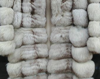 Fox Blue White Natural Fox Fur Coat/ Jacket Extended Size M