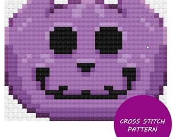 Purple Jack-O-Lantern Cross Stitch Pattern