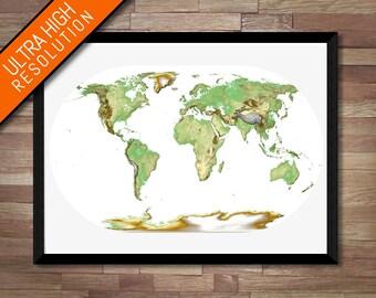 Beautiful World Map art   Printable World map print, Travel map print, World map poster, Physical map art, World map wall decal, Earth map
