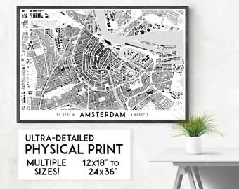 Amsterdam map print printable amsterdam map art amsterdam buildings of amsterdam print physical amsterdam map print amsterdam art amsterdam map art sciox Images