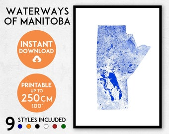 Manitoba map print, Printable Manitoba map art, Manitoba print, Canada map, Manitoba art, Manitoba poster, Manitoba wall art, Winnipeg map