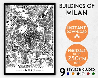 Milan map print, Milan print, Milan city map, Italy map print, Milan poster, Milan wall art, Map of Milan, Milan art print, Milan map poster