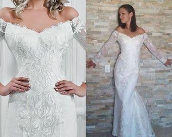 Mina - Chiffon Lace Sheath Wedding Dress