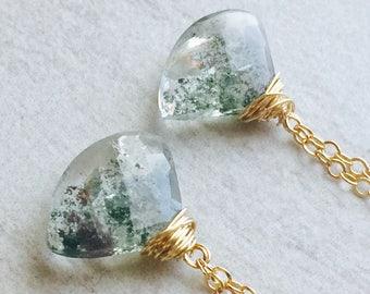 Moss Quartz Drop Earrings