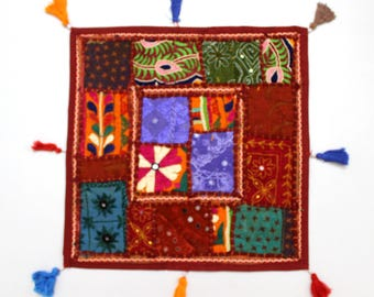 Handmade Hippie Gypsy Home Decor Ethnic Multi color Embroidered Hippy Patchwork Bohemian Pillow Shams Couch Cushion Cover Case G768