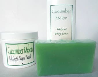 Cucumber Melon Gift Set - Whipped Sugar Scrub, Natural Whipped Body Lotion, Artisan Cold Process Soap - Cocoa Butter,  Organic Camellia Oil
