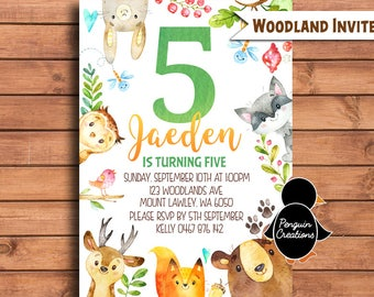Woodland Birthday Invitation. Woodland Animals. Woodland Birthday. Watercolour Party Invitation.