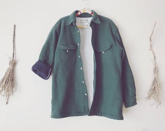Green Fleece Jacket Sherpa Lined