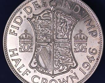 GENUINE 1946 George VI KGVI 50% Silver Half Crown  2/6 excellent coin *[11885]