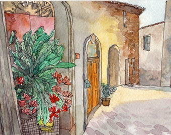Quiet Town in Italy, Original Watercolor Painting Postcard