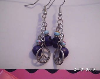 Dark blue skulls w/charm earrings.