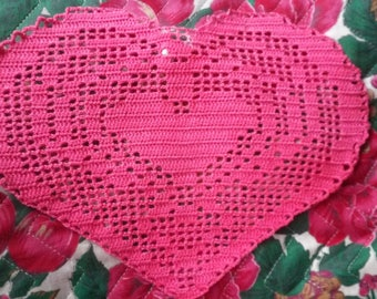 embroidered red heart crochet