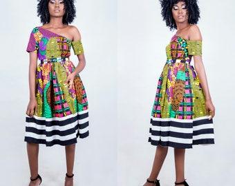 Michelle African mixed print dress, African midi  dress, African party dress,  African dress, Ankara dress, African  Midi dress