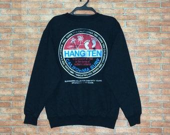 Rare!!! Vintage HANG TEN Sweatshirt Vtg USA Hangten Surf Crewneck Pullover Jacket M size