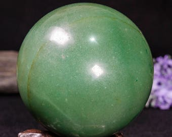 """3.4""""The Large Aventurine Sphere/Green Aventurine Ball/Crystal Healing/Calm/Comfort/Metaphysical Energy/Special Gift/Charka-85mm-821g#3156"""
