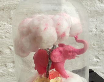 Bell glass pink elephant and clouds tree fairy decor