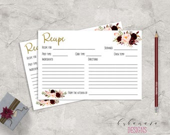 Marsala Printable Recipe Card Bridal Shower Game Floral Quiz Burgundy Pink Peonies Flowers Wedding Trivia Bridal Quiz - BG018