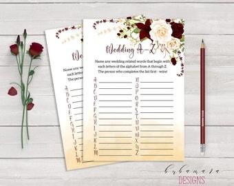 Wedding A to Z Bridal Shower Game Marsala Floral Printable Games Burgundy Cream Roses Flowers Wedding Trivia Bridal Quiz - BG015