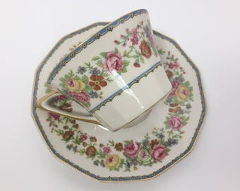 Pretty Floral Charles Field Haviland Limoges Teacup and Saucer - Finest French Ivory China - Gerard, Dufraisseix, and Abbot Decorators
