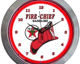 """Antique Style """" Texaco Fire Chief - Gasoline """" Neon Clock"""