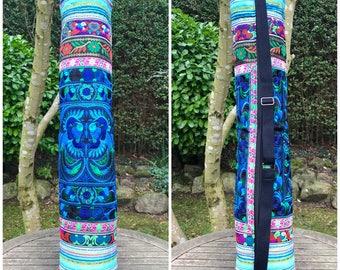 Colourful Hmong yoga mat bag, embroidered bag, boho bag, bohemian, hippie, ethnic bag, yoga accessories
